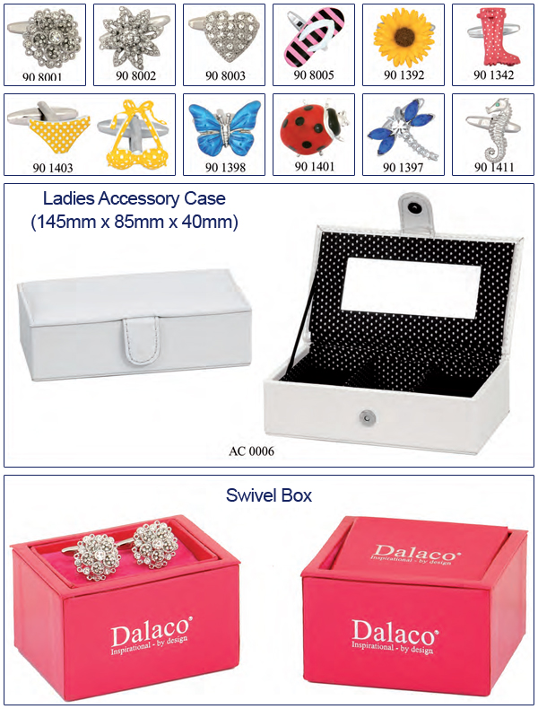 Ladies Cufflinks and Jewellery Accessory Boxes