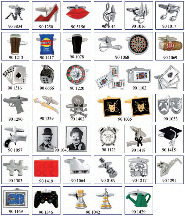 cuff links for motorists, collectors, gamblers