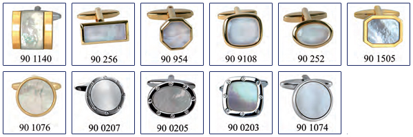 opal, mother-of-pearl, gold cufflinks
